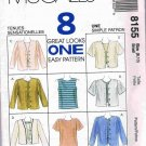 1990's McCalls Sewing Pattern 8155 8 in One Jacket and Blouse Top 4 styles Size Small 8 - 10 UNCUT