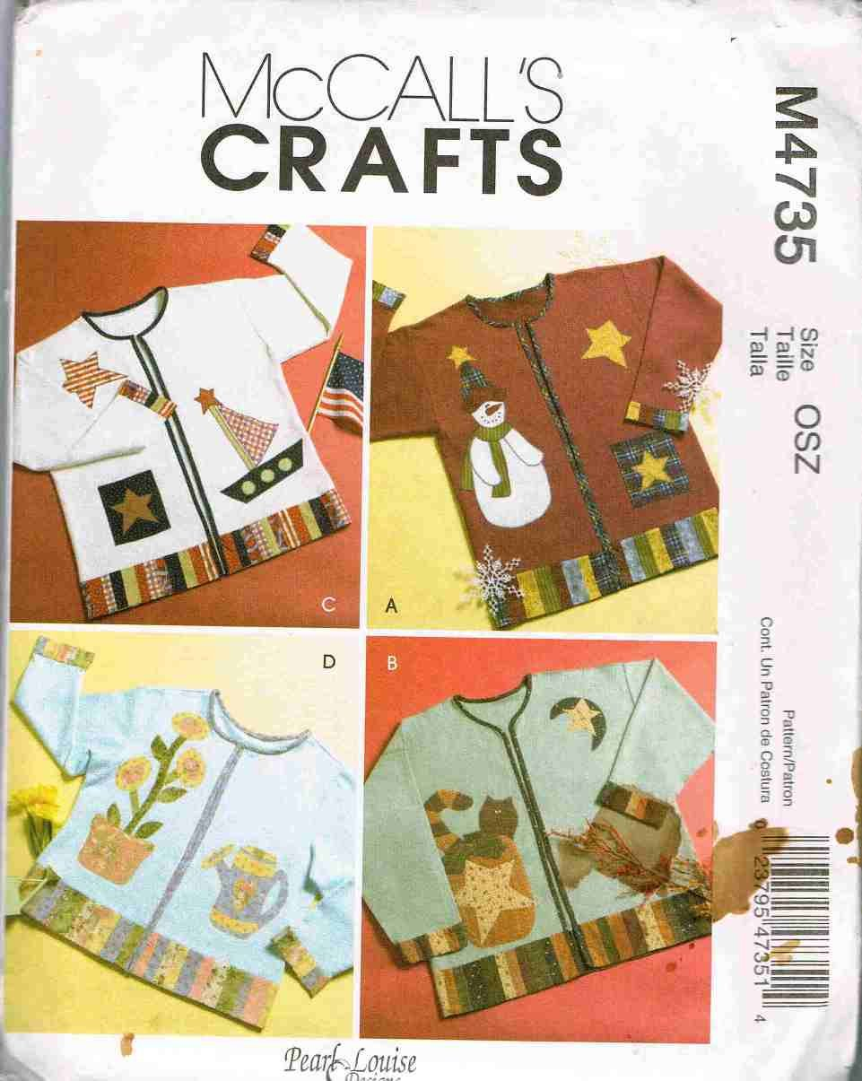 McCalls Craft Sewing Pattern M4735 Seasonal Applique for Sweatshirt Pumpkin Snowman Cat  UNCUT