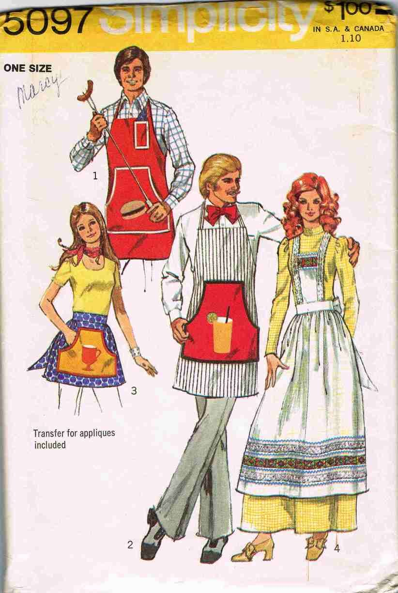 Vintage 70's Simplicity Sewing Pattern 5097 Mens and Womens Apron Half Full Long One Size UNCUT