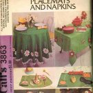 70's McCalls Sewing Craft Pattern 3863 Table Cloth Placemat Napkin Tree Skirt UNCUT