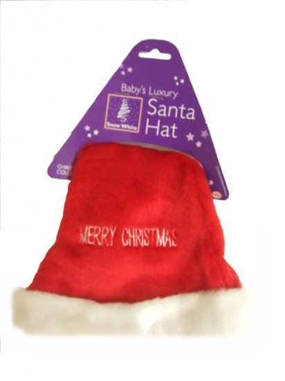 BABYS SANTA HAT WITH MERRY CHRISTMAS LOGO