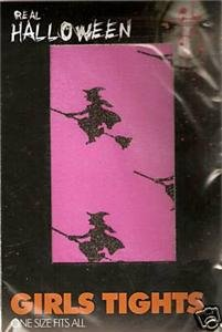 HALLOWEEN WITCH TIGHTS PINK WITH WITCH MOTIF ONE SIZE