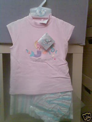 BABY GIRLS PRETTY MERMAID HAT, SHORTS AND TOP SET NEW WITH TAGS AGE 6-12 MONTHS