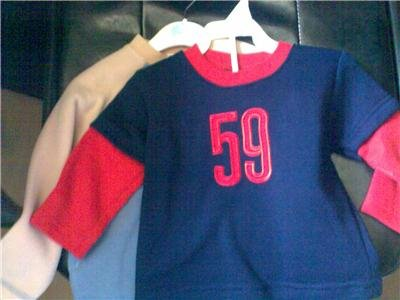 ONE NAVY AND RED LONG SLEEVE TOP WITH 59 LOGO  AGE 12 - 18 MONTHS NEW WITH TAGS
