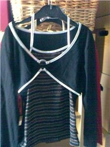 GIRLS SHRUG STYLE TOP BLACK AND SILVER AGE 8 YEARS NEW