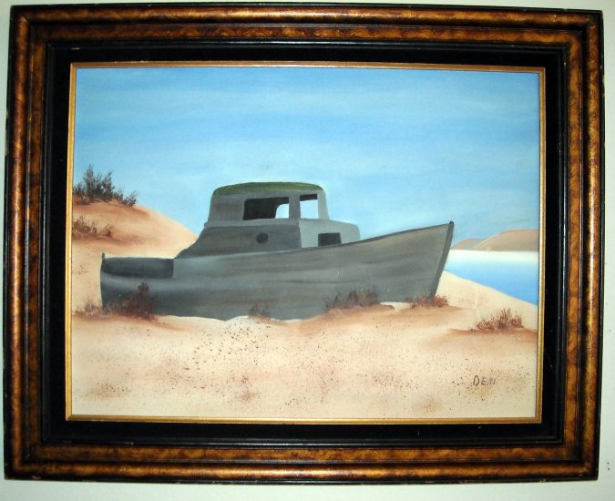 Original oil painting Old boat on the beach framed