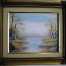 Original oil painting Fall colors at the lake framed