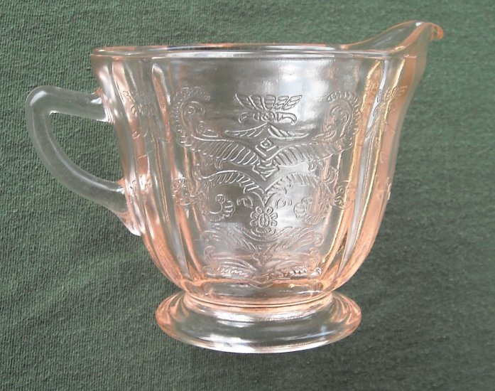 DEPRESSION GLASS VINTAGE PINK MADRID CREAMER