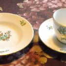 Danish Bing & Grondahl 3 Pieces Green Flower Gold Leaves