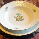 Bing & Grondahl 2 plates Green Flower Gold Leaves Denmark