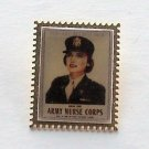USPS Army Nurse Corps Postage Stamp Gold Tone Metal Tie Pin