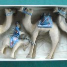 Vintage Olive Wood Camels And Donkey Set