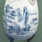 Vintage FAKE Satsuma pottery blue footed vase