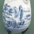 Vintage FAKE Satsuma pottery blue footed vase