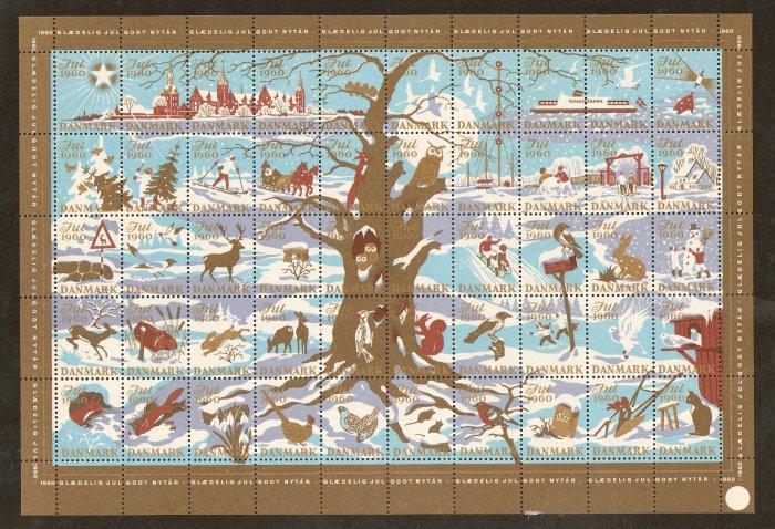 Danish Christmas Seals Stamps Denmark Full Sheet JUL 1960 DANMARK