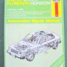 Haynes Dodge Omni & Plymouth Horizon repair manual