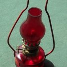 VINTAGE MINI MINIATURE OIL LAMP RUBY RED GLASS