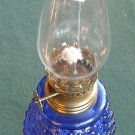 Vintage Miniature Oil Lamp Blue Glass Hobnail