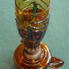 VINTAGE MINIATURE OIL LAMP AMBER GRAPES GLASS