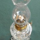 VINTAGE MINIATURE OIL LAMP CLEAR GLASS SHADE AND BASE