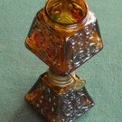 Vintage Mini Miniature Oil Lamp Square Amber Glass