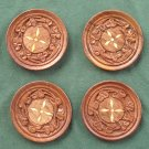 Vintage Set of 4 Teak Wood With Inlay Coasters