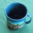 Hand Painted Memory Lane large blue metal cup signed