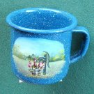 Hand Painted Memory Lane small blue metal cup signed