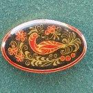 Collectors vintage Soviet USSR black lacquer metal brooch tac pin