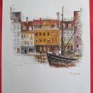 Vintage Mads Stage print Nyhavn with black ship Copenhagen unframed