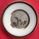 Art of Chokin Japan 24 K gold silver flowers wall plate