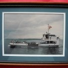Vintage William Darrell Ferry Port Side Photo US Canada Flags Framed