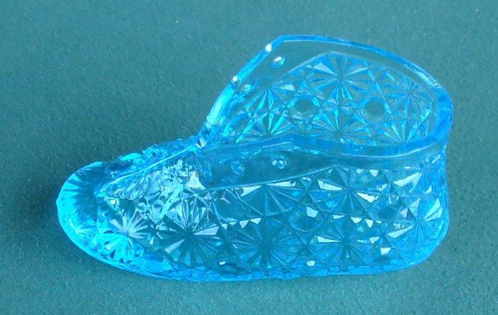 Vintage Art Glass Daisy Baby Shoe Blue