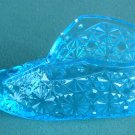 Vintage Art Glass Daisy Baby Shoe Blue