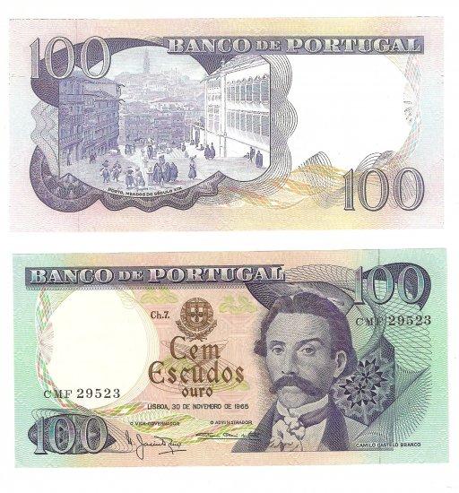 Vintage Portugal 100 Cem Escudos Ouro 1965 Crisp Camilo Castelo Branco Uncirculated
