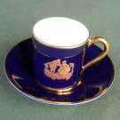 Limoges cobalt gold demitasse cup and saucer set