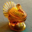 Covered Turkey Server Pressed Amber Glass dish bowl
