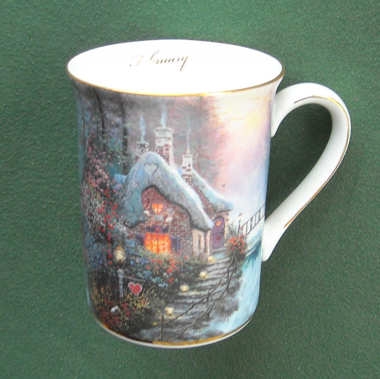 Thomas Kinkade cup mug Sweetheart cottage II February