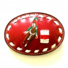 Western Tony Lama Red Leather Vintage Cowboy Belt Buckle
