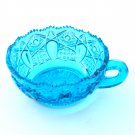 L E Smith Blue Quintec Button Glass Nappy Bowl