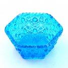 Blue Hexagon Daisy Button L E Smith Glass Bowl