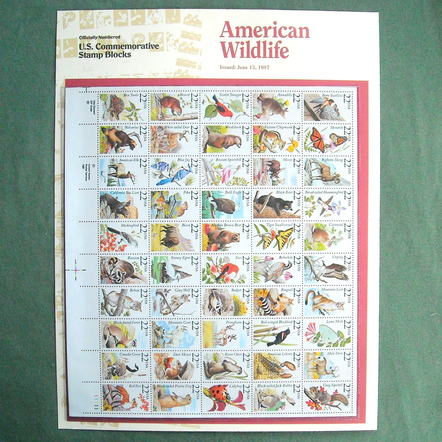 American Wildlife Officially Numbered Full Sheet 22c Stamps