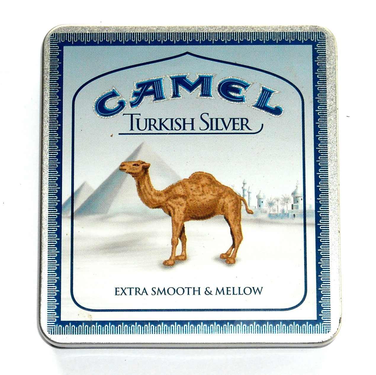 camel turkish silver metal cigarettes box tin with c notes. Black Bedroom Furniture Sets. Home Design Ideas