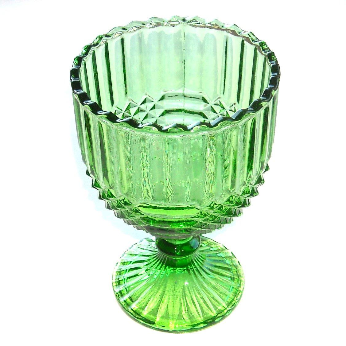 Vintage Large Sawtooth Rim Hunter Green Water Glass Goblet