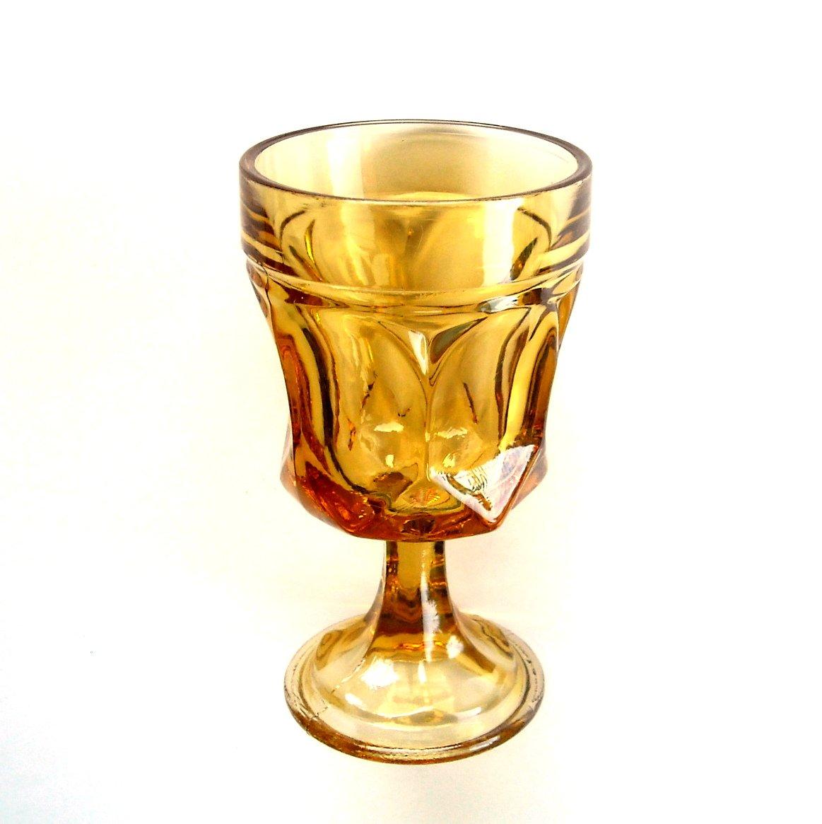 Vintage Anchor Hocking Fairfield Honey Amber Glass Goblet