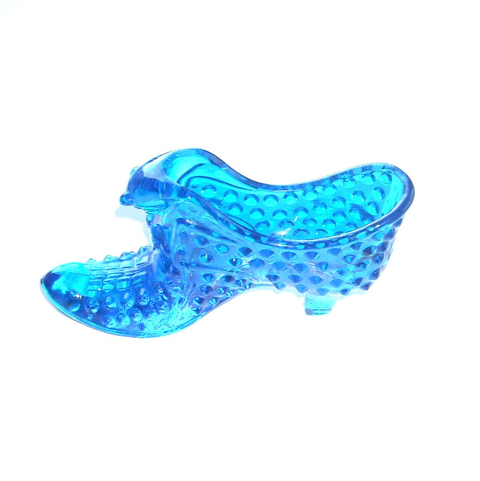 Vintage Fenton Art Glass Cat Hobnail Shoe Colonial Blue