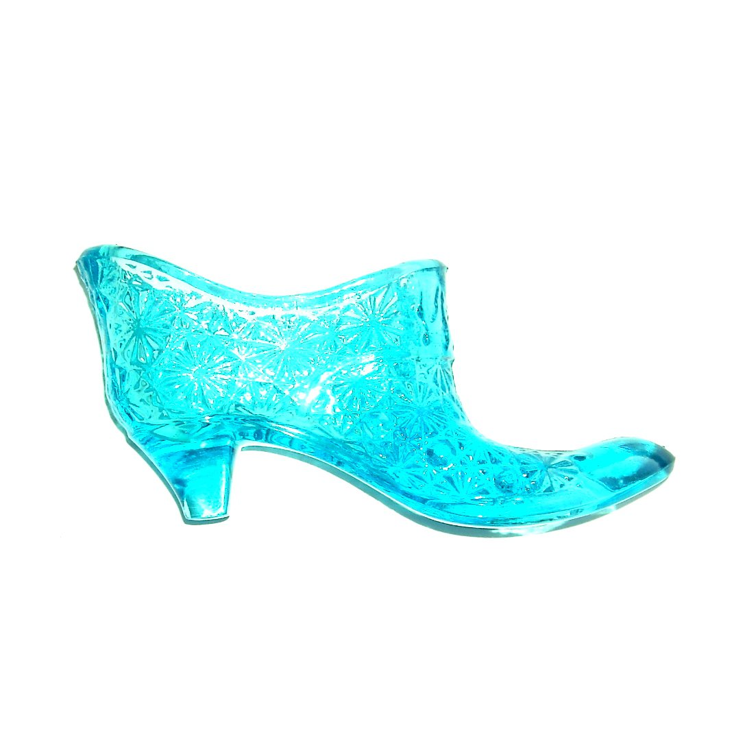 Daisy Shoe Ice Blue Vintage Art Glass