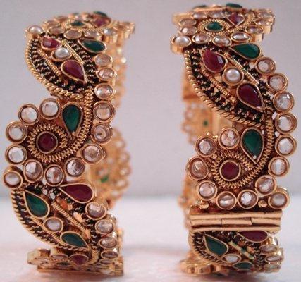 Modern Look Kada, Bracelet, Bangle- Polki, Kundan- EC04, Free Shipping All Over World