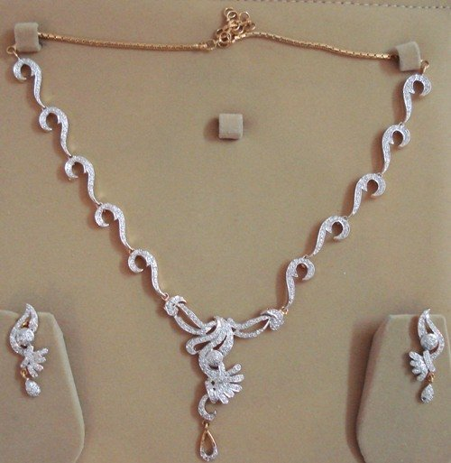Bollywood Diamond (American) Necklace with Earings from India. Free Shipping All Over World. EC18