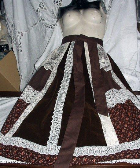 Classic Designed Vintage 1970's - BOHO Long Velvet  and  Lace Shirt
